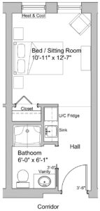 standard single floor plan in the care centre at lookout ridge