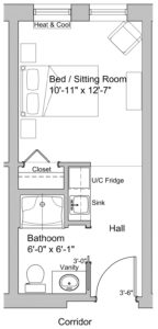 standard single floor plan assisted living at lookout ridge