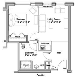 one bedroom suite floor plan assisted living at lookout ridge