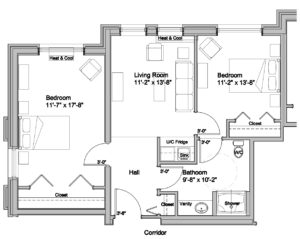 two bedroom floor plan assisted living at lookout ridge